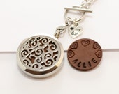 Cat Lover Oil Diffuser Necklace Stainless Steel Locket Love My Cat Charm And Hand Stamped Personalized Leather Pads