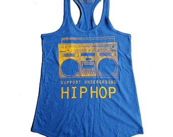 Support Underground Hip Hop Boom Box racerback Tank Top - ON SALE!