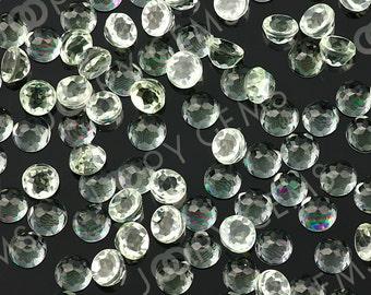 Prasiolite (Green Amethyst) Rose Cut Cabochon 4mm Round - 1 cab