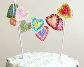 Hearts cake topper - hearts garland - Valentines day decoration - Wedding cake topper - unique cake topper - mandala hearts - crochet hearts