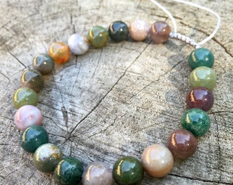 EARTH- Indian Agate Wrist Mala Bracelet.