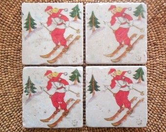 Marble Stone Coaster Set- Vintage Ski - Ski Decor - Ski Gift - Decorative Tile - Skier - Natural Stone