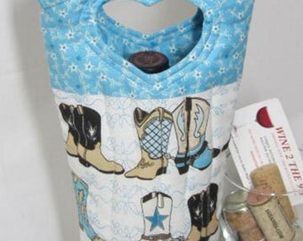 Western Boots Wine Tote Wine Bag Hostess Gift Gift Under 25 Quilted Wine Bag