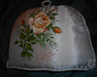 Tea Cozy quilted vintage satin with hand painted Roses (FF5016)