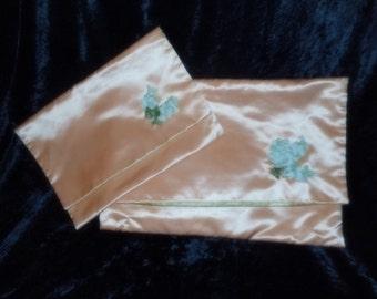 x Pair of Large and Medium Peach Satin Lingerie Folders for Travel with Lovely soft Green Velvet Flowers (FF508)