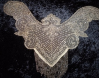 x Victorian Smoky Gray Glass Beaded antique Applique/Collar piece with Fringe -Fabulous ! (FF509)