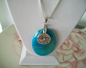 Blue and Green Agate with Sanddollar Charm on Chain