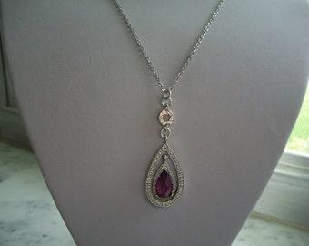 1928 Company Amethyst Purple Lavalier Necklace