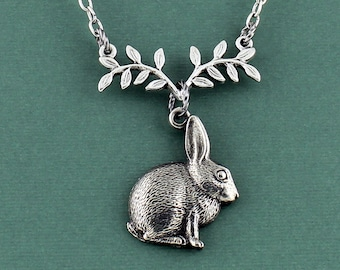 Pewter Hare Necklace - Antique Silver Rabbit Charm, Pewter Fern Leaf Connecter, Adjustable Cable Chain from 16 - 18 Inches, Bunny Jewelry