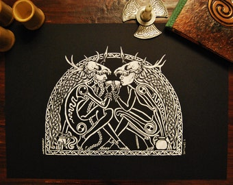 Balor's Banquet ~ Hand pulled screen print, artwork by Sean Fitzgerald