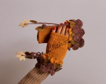 Fingerless Gloves, Yellow Knit Fingerless Gloves, Crochet Fingerless Gloves, Mohair & Wool, Mustard Yellow Brown Wrist Warmers Gift For Her