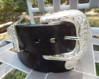 Bright Silver Floral Western Buckle set and Conchos on Top Grade Leather Belt