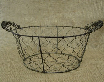 Primitive Chicken Wire Round Basket