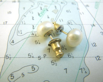 Cultured Pearl Earrings Studs Gold Posts