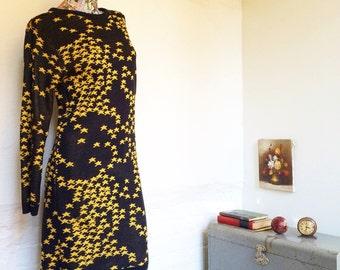 80s Plain Jane by Sweet Baby Jane Black and Gold Star Mini Dress 1980s yellow stars medium