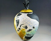 Decorative Raku Vessel - Greenish-yellow, Blue, Green, Black - Vase-Sculpture