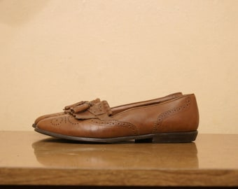 Brown Tassel Leather Loafers 7.5 Penny Loafers Flats 90s Preppy Normcore Hipster