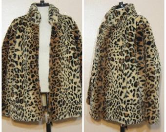 Leopard Fur Coat Large Faux Fur Vintage Glam Club Kid Rave 90s