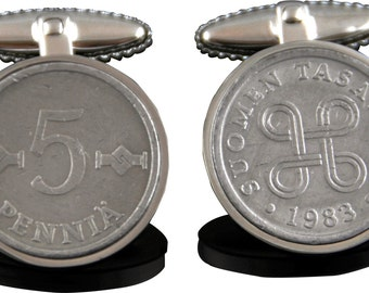 Finland Gift Idea - Handmade Finnish Coin Cufflinks - Genuine Finnish coins - 100% satisfaction