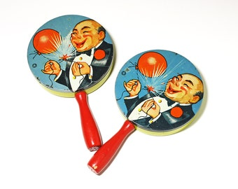 Vintage Metal Party Noise Makers, Party Rattlesls - circa 1930's