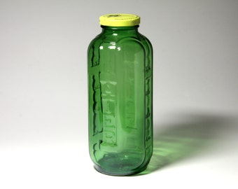 Vintage Green Water Bottle with Lid.Green Water Jug - circa 1950's
