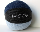 Personalized dog toy with squeaker, squeaky dog toy, toy for pugs, fabric dog toy, upcycled dog toy, medium sized ball, denim dog toy