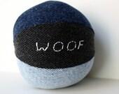 Custom Recycled Denim Dog Squeaky Ball toy medium size