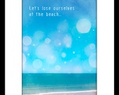 DIGITAL PRINT 5x7 - Let's lose ourselves at the beach - romance, nostalgia, ferris wheel, show ride, sky, turquoise, Valentine's day