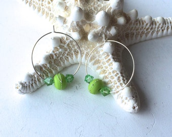Velvety Etched & Fine Silver Wrapped Lime Green Lampwork Beaded Hoop Earrings with Swarovski Crystals on Sterling Silver Wire Hoops