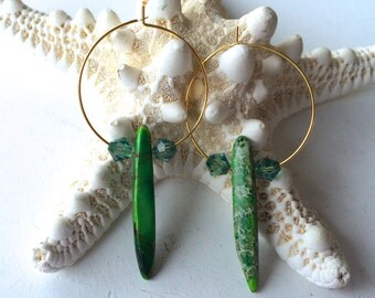 Green, Ivory, Cream, Brown Crazy Lace Agate Gemstone on Gold Hoop Earrings with Swarovski Crystals