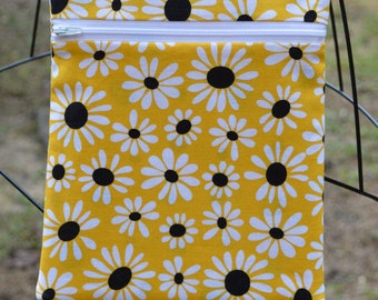 Handmade Floral  Daisies on Yellow Sling Bag, Cross Body Bag, Hipster, Travel Bag