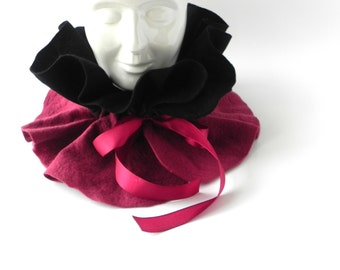 Gift for her, Felted scarf, Black Bordeaux scarf, woman scarf, Great gift idea, gift for mother, Gift for sister, CHRISTMAS GIFT