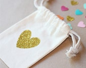 GLITTER HEART - Favor Bags - Set of 10 - Birthday - love - Christmas Favor - Thank you bag - NOT personalized