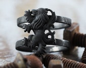 Black Mens Ring Griffin Lion Rings Antique Oxidized Man Jewelry