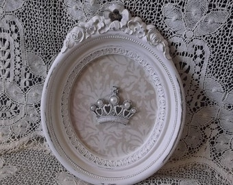 Oval Crown assemblage, shabby white and tan, French country decor, repurposed vintage