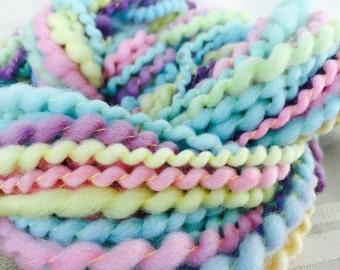Handspun Art Yarn hand spun Hand dyed Knitting Crochet Supplies Waldorf Hair Merino wool