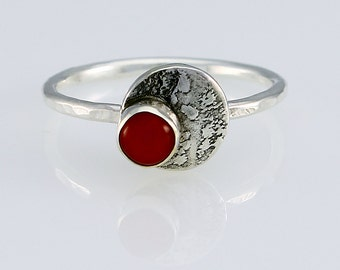 Size 9 Ring Handcrafted Sterling Silver Red Coral  Ring Artisan Jewelry Handmade in USA Natural Stone Asymmetrical Design 7778527882015