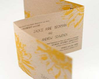 Rustic Sunflower Wedding Invitation, Seal N Send Tri-fold Invite with Perforated RSVP Postcard, Sunflower Wedding