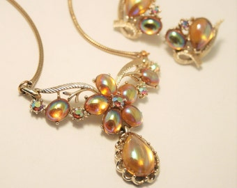 Vintage demi parure. Necklace and matching earrings.  Golden glass and crystal
