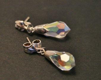 Vintage crystal drop earrings. Sterling silver