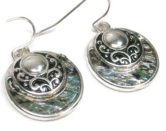 Abalone Disk Earrings, Dangle Earrings, Filigree Circle Drop Earrings with Abalone, Scroll, Shell Earrings, Beach, Ocean, Sea