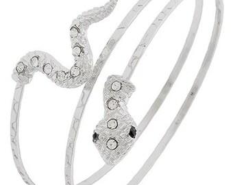 Arm Cuff - Rhodium Snake Arm Band - Metal Arm Cuff - Spiral Arm Bangle - Statement - Rhinestone Snake - Arm Jewelry - Minimalist - Animal