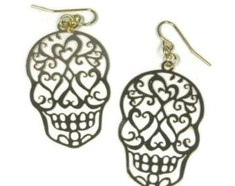 Sugar Skull Earrings, Thin Filigree Gold Lace Skull Earrings, Thin Laser Cut Skull Dangle Earrings, Day of the Dead, Día de Muertos