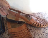 Vintage Drexlite Brown leather Huaraches Sandals ~ Sling back ~ Woman's size 10
