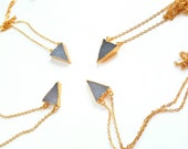 Crystal druzy necklace-24k gold plated druzy- grey blue crystal necklace