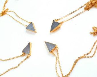 Crystal druzy necklace-24k gold plated druzy- grey blue crystal necklace