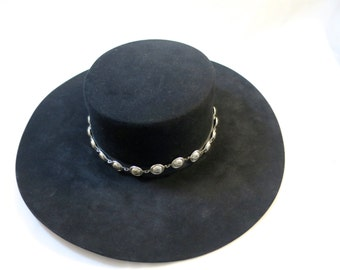 Vintage Western Hat Black Silver Concho Band  8X Beaver Rand's Custom Hatters Billings Mont. USA Made 6 1/2 Size Leather Inner Band
