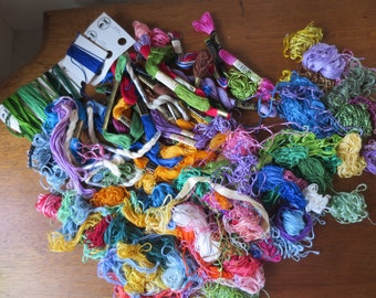 Embroidery Floss Mixed Colors J & P DMC WonderArt Perlene Floss 30+ Full skeins plus remnants Cross Stitch Embroidery Floss DeStash