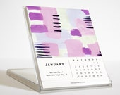 2016 Desk Calendar with Stand - 12 Watercolor Illustrations
