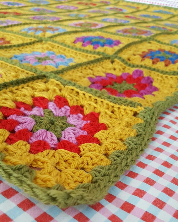 """Ready To SHIP Luxury Granny Squares Blanket Pure Wool Afghan  60"""" x 60"""""""